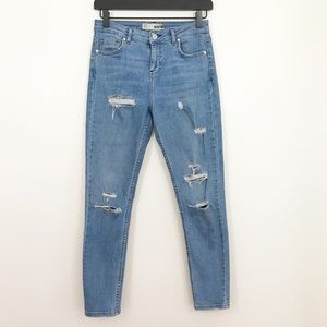 Topshop Moto • High Rise Ripped Light Skinny Jeans